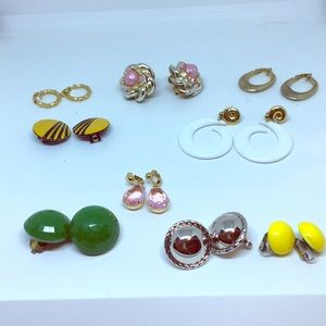 Jewelry - Nine Pairs Clip-on Earrings 80's style